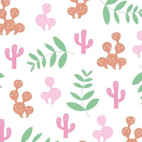 Leaves and cacti garden design colorful summer plants pink mint green