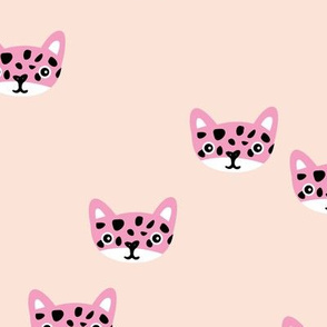 Cute little wild cat panther cub soft sand and hot pink girls