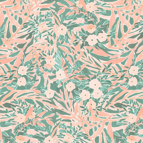 tropical daydream blush green large scale