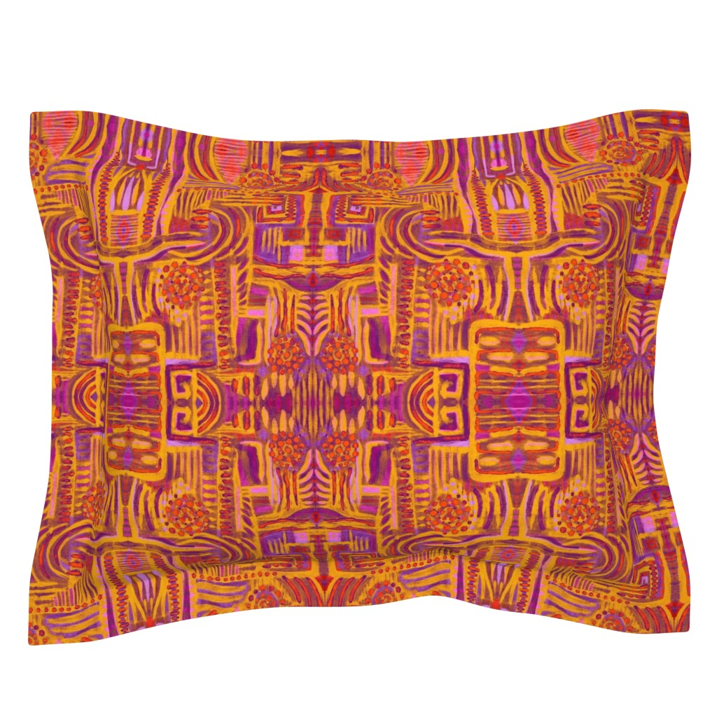 Sebright Pillow Sham featuring Abstract Maximalism by dunnspun