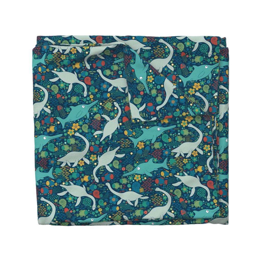 Wyandotte Duvet Cover featuring Swimming with plesiosaurs - green with red by cecca