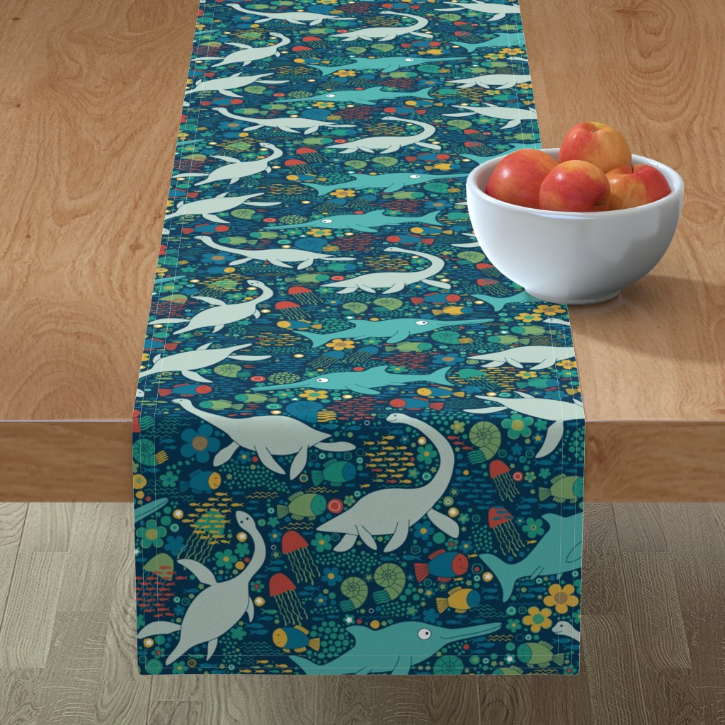 Minorca Table Runner featuring Swimming with plesiosaurs - green with red by cecca