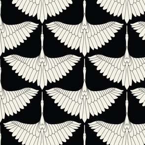 Swan Song // Ecru on Black