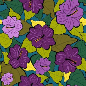 Maximalist Hibiscus Purple Flowers