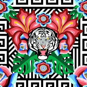 White Tiger, Bright Jungle - b&w