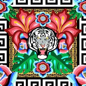 White Tiger, Bright Jungle w/ Gold Chain