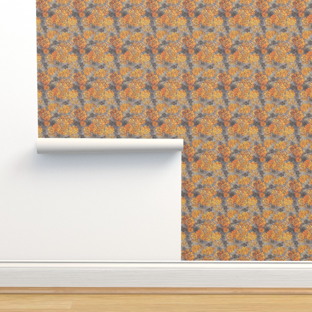 Isobar Durable Wallpaper featuring Roses and butterflies, gray, medium by palifino