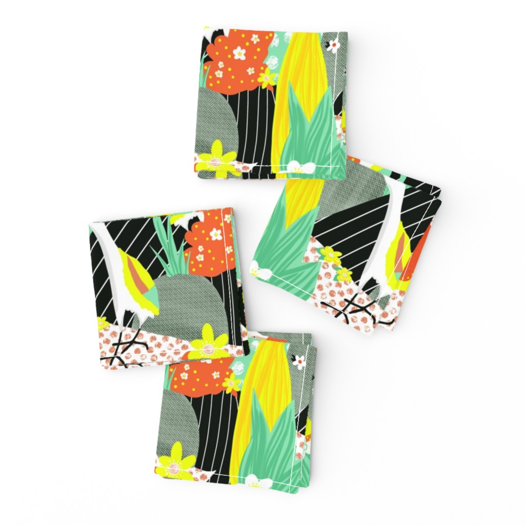 Frizzle Cocktail Napkins featuring Hawaiian bird collage by sandra_hutter_designs