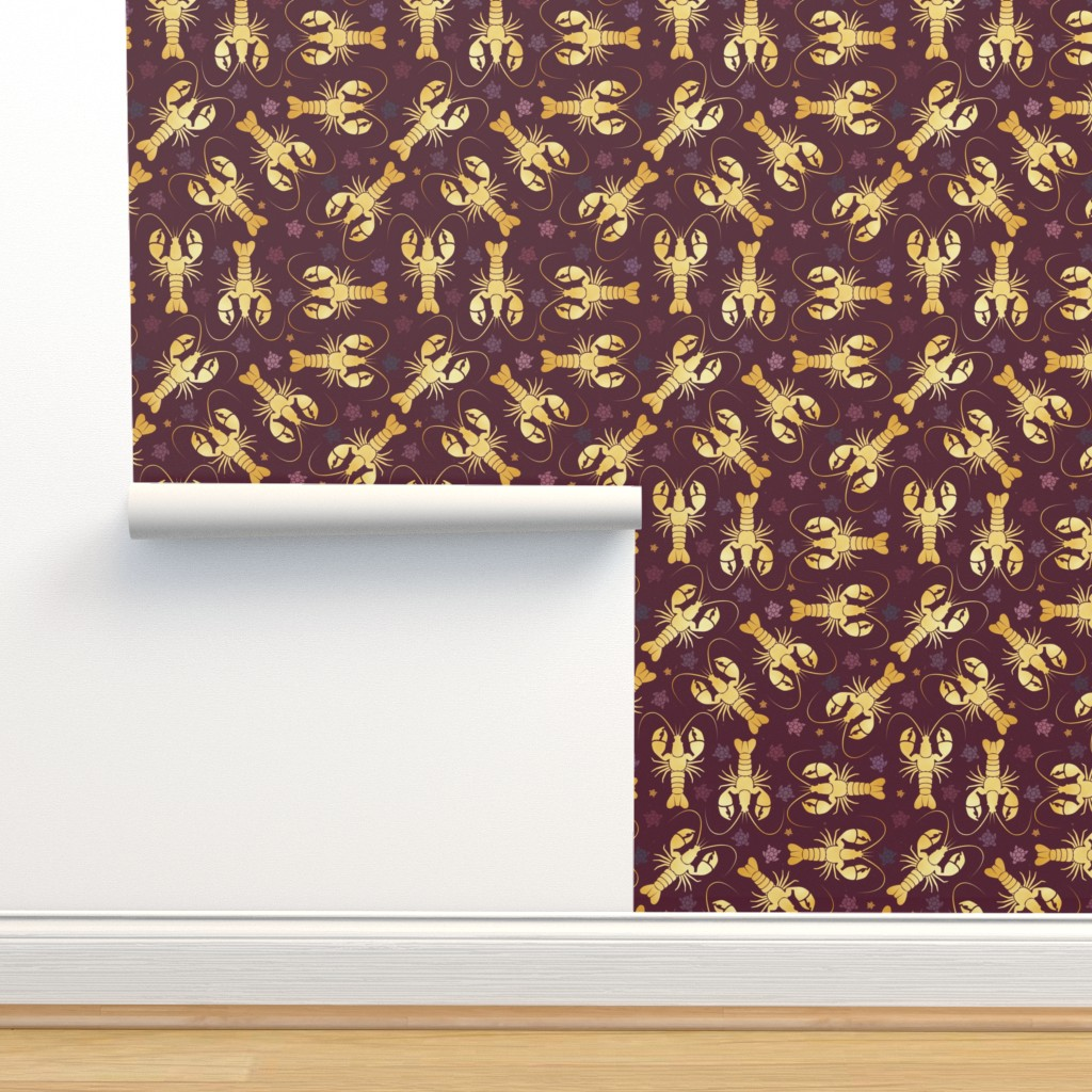 Isobar Durable Wallpaper featuring lobster love by colorofmagic