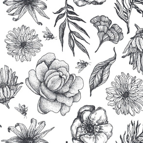 Charcoal on White Woven Flowers Leaves and Bees