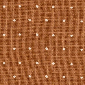 White on Woven Copper Organic Polka Dots Spots