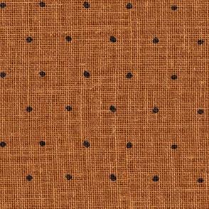 Black on Woven Copper Organic Polka Dots Spots