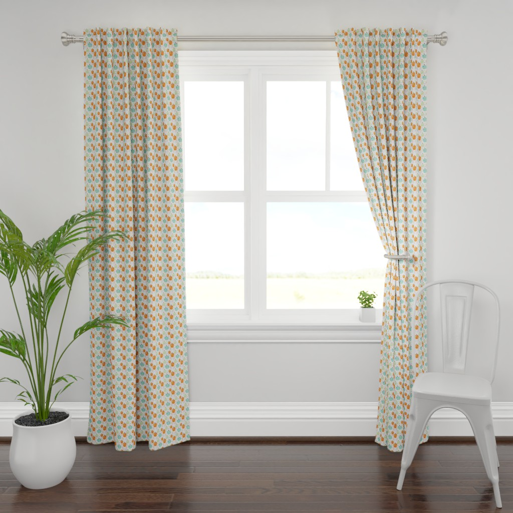Plymouth Curtain Panel featuring Pumpkin Season (Smaller Scale) by floramoon
