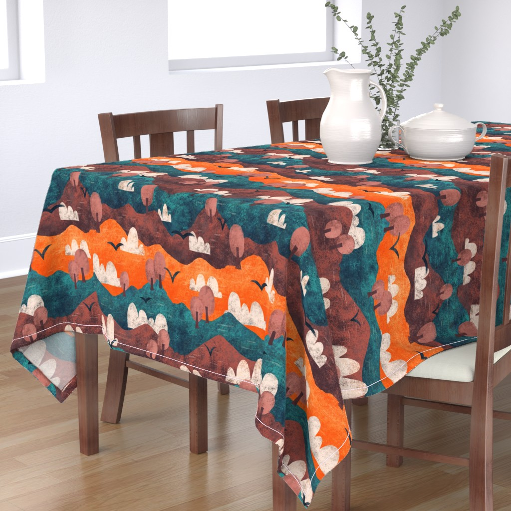 Bantam Rectangular Tablecloth featuring Cut Paper Forest by arthousewife