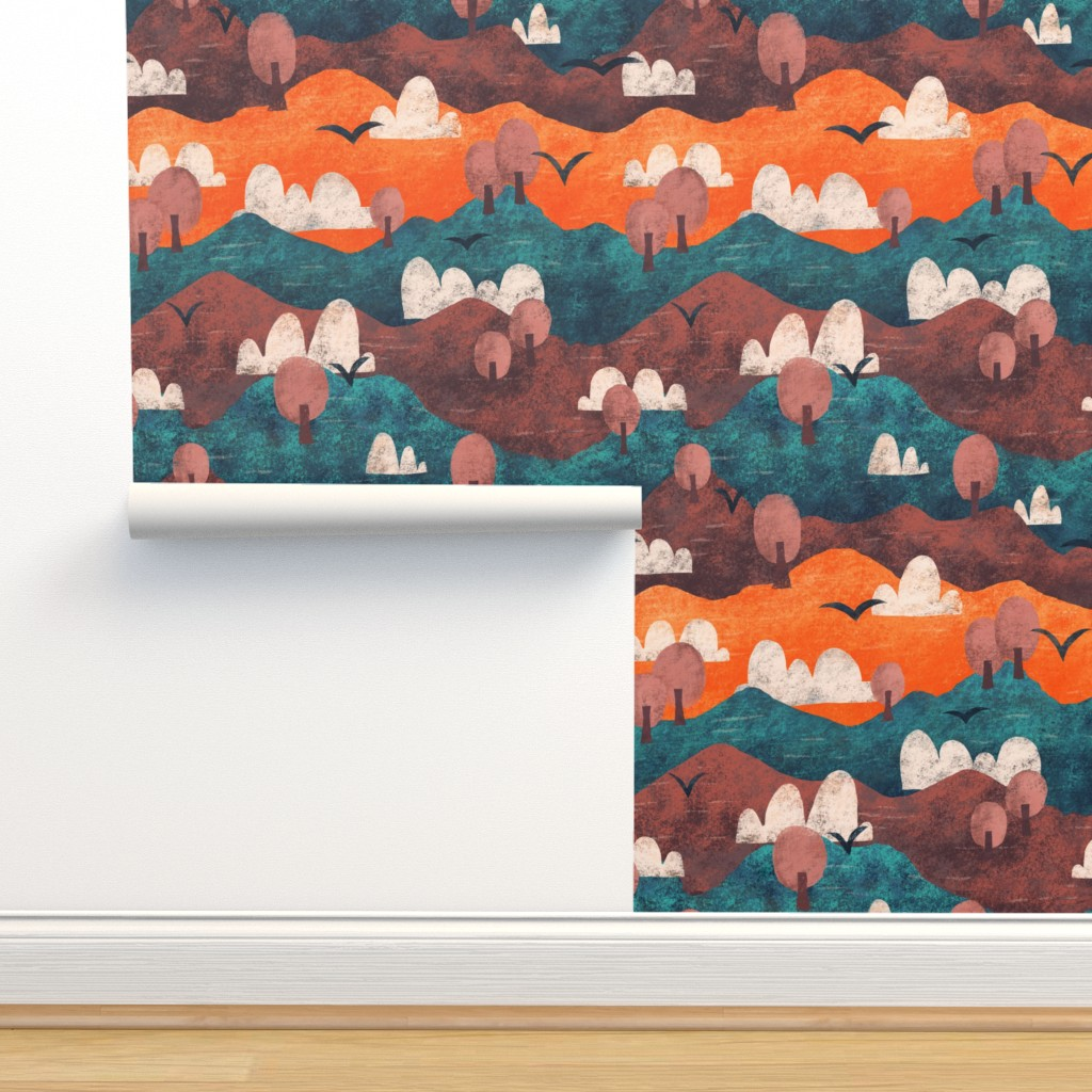 Isobar Durable Wallpaper featuring Cut Paper Forest by arthousewife