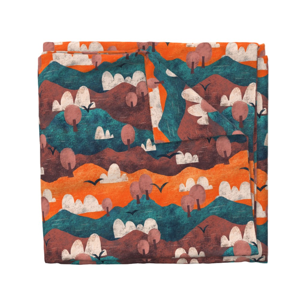 Wyandotte Duvet Cover featuring Cut Paper Forest by arthousewife