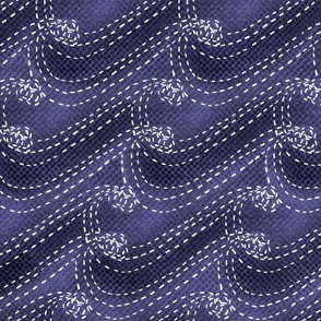 Sashiko waves on textured indigo
