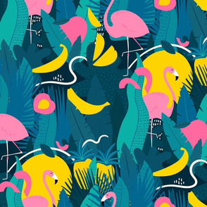 Tropical summer pattern with jungle, fruits and flamingo