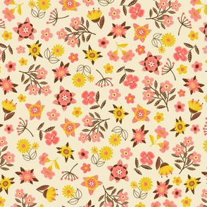 Vintage Ditsy Coral & Yellow Floral