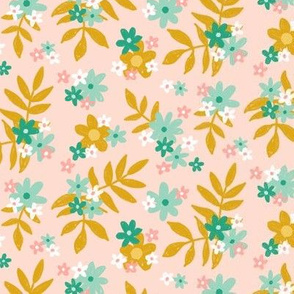 Pink Gold and Mint Floral