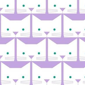 Peek-a-Boo Cats, Green Eyes on Lavender