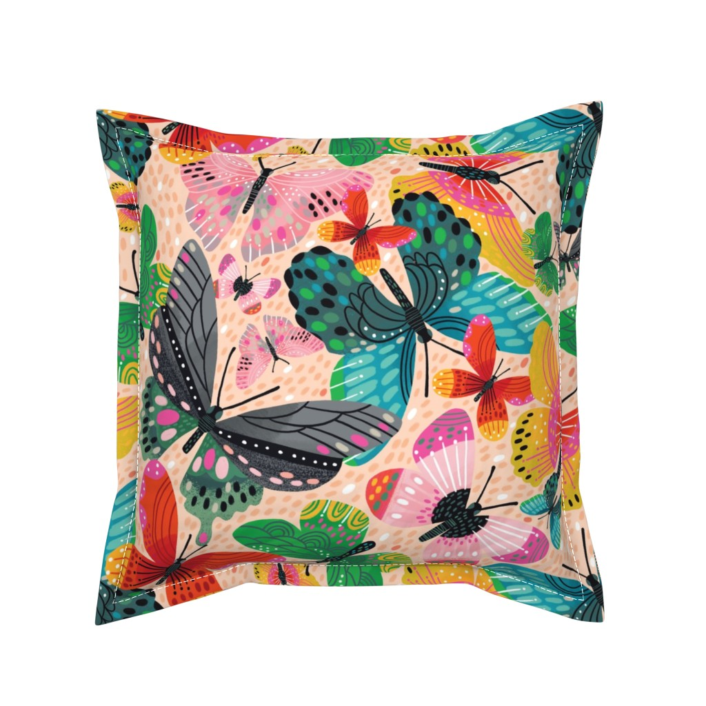 Serama Throw Pillow featuring Boldly Butterflying  by cynthiafrenette