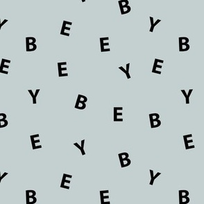 Sweet BYE BYE minimal goodbye text design abstract typography print with expressions from the heart pale mint black