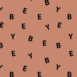 Sweet BYE BYE minimal goodbye text design abstract typography print with expressions from the heart brown black