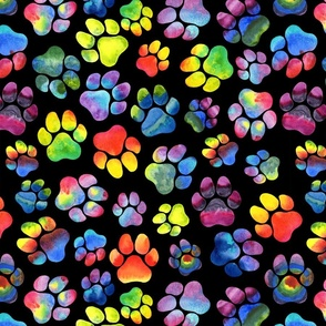 Rainbow Watercolor Pawprints