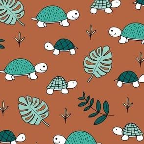 Pura Vida ocean and jungle animals little turtle tortoise baby mint green brown