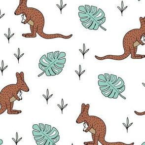 Australian animals little kangaroo mom and baby jungle summer leaves mint gender neutral