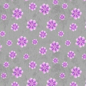 19-05P Purple Flower Gray Watercolor