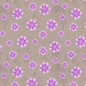 19-05N Purple Flower Taupe Watercolor