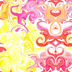 19-05H Marble Lemon Yellow Pink Swirl Blender