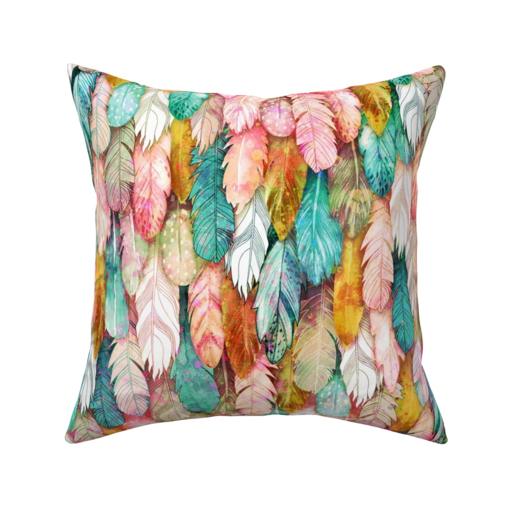 Catalan Throw Pillow featuring Flight of Feathers Painted by xoxotique