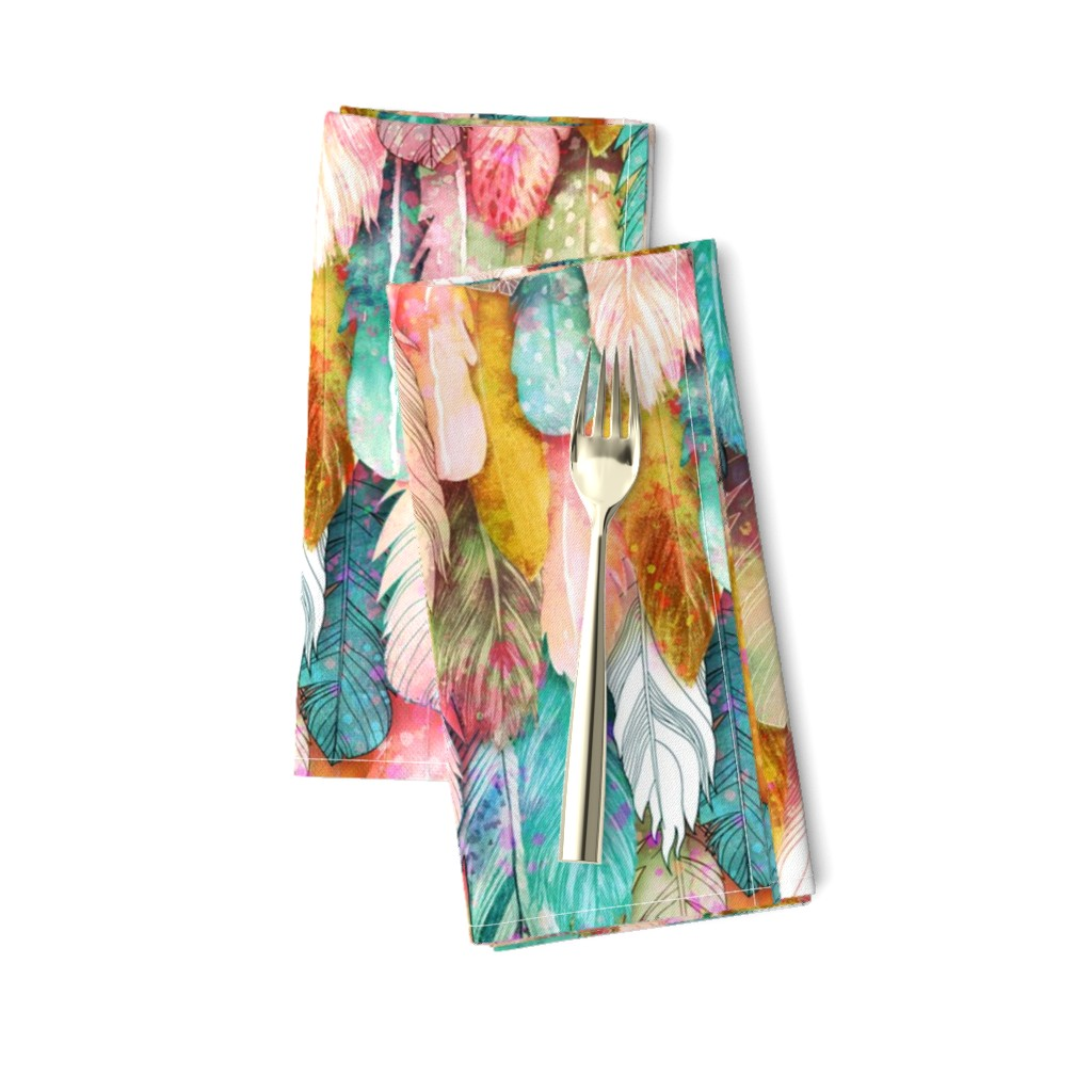 Amarela Dinner Napkins featuring Flight of Feathers Painted by xoxotique