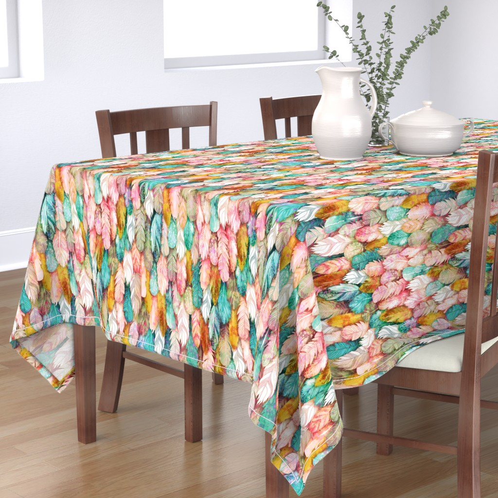 Bantam Rectangular Tablecloth featuring Flight of Feathers Painted by xoxotique
