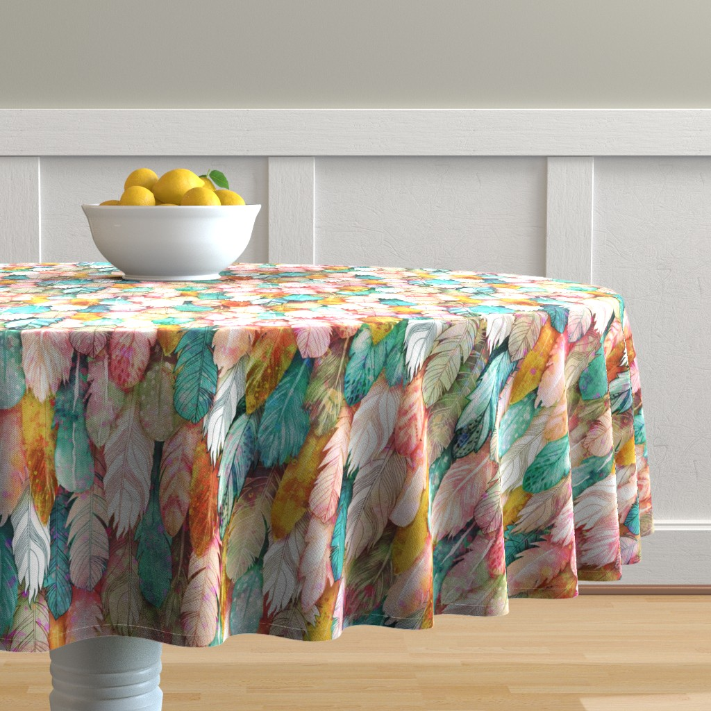 Malay Round Tablecloth featuring Flight of Feathers Painted by xoxotique