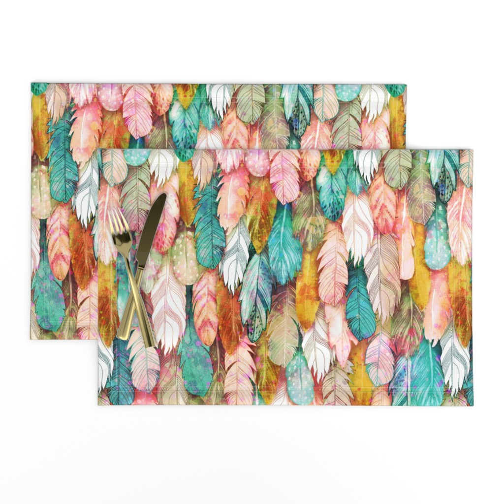 Lamona Cloth Placemats featuring Flight of Feathers Painted by xoxotique