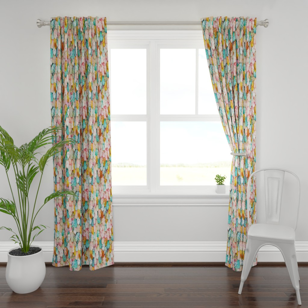 Plymouth Curtain Panel featuring Flight of Feathers Painted by xoxotique