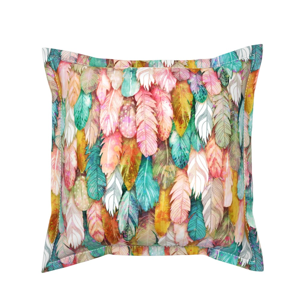 Serama Throw Pillow featuring Flight of Feathers Painted by xoxotique