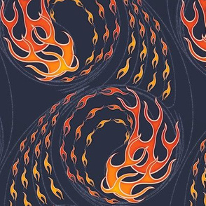 ★ HOT ROD FLAMES ★ Red, Orange, Yellow, Navy / Collection : On fire -Burning Prints
