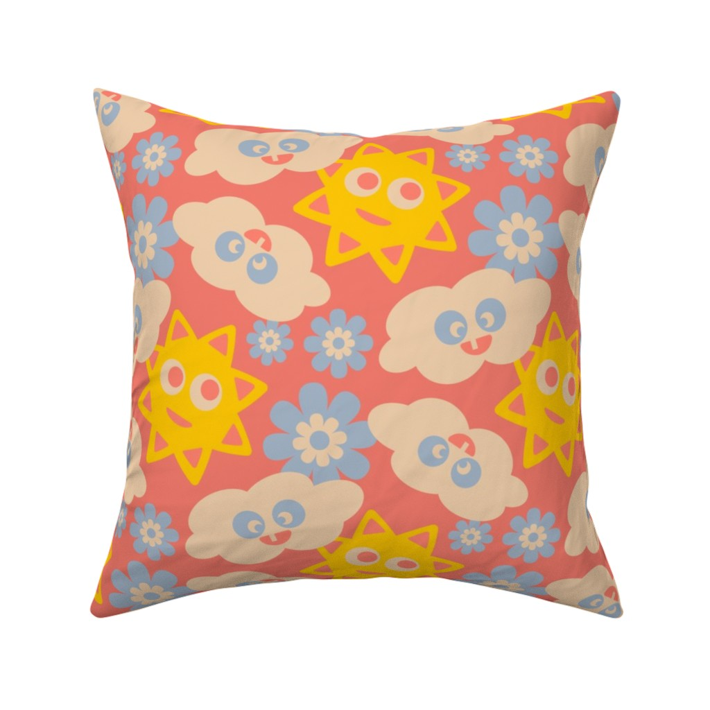Catalan Throw Pillow featuring Kawaii City Kids Clouds Sun Yellow Red Blue White by unblinkstudio-by-jackietahara