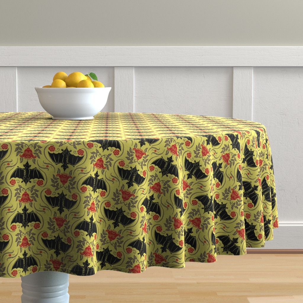 Malay Round Tablecloth featuring Blossom Bats 1a by muhlenkott