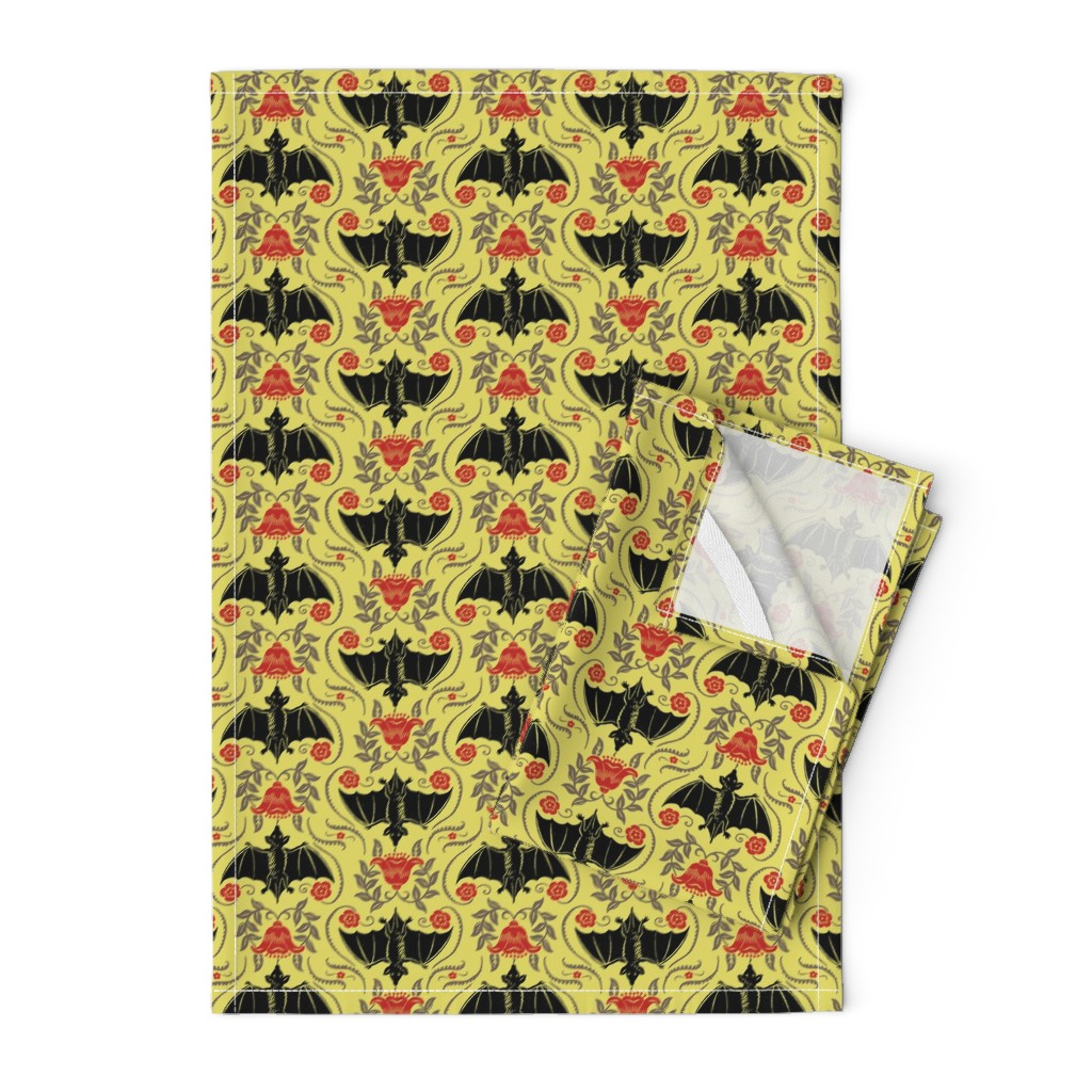 Orpington Tea Towels featuring Blossom Bats 1a by muhlenkott