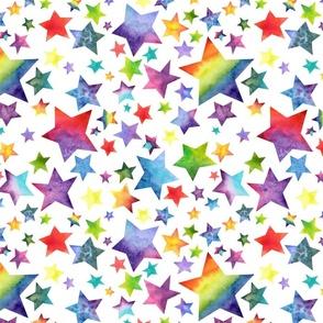 Rainbow Stars Watercolor on White