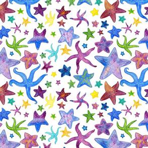 Rainbow Starfish Watercolor Pattern