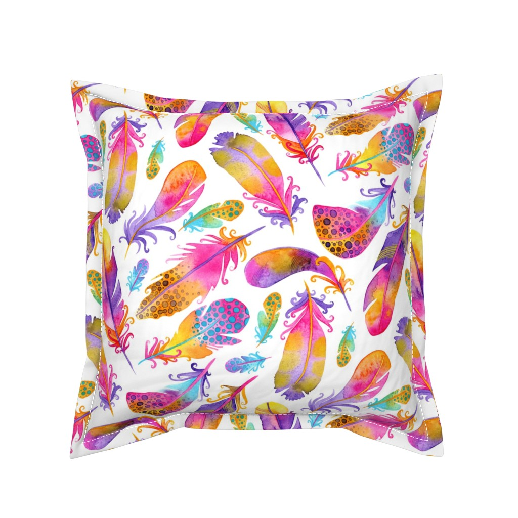 Serama Throw Pillow featuring Sunset Feathers by katiethomascreative