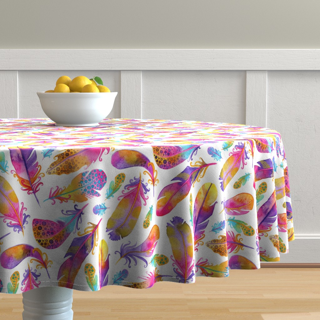 Malay Round Tablecloth featuring Sunset Feathers by katiethomascreative