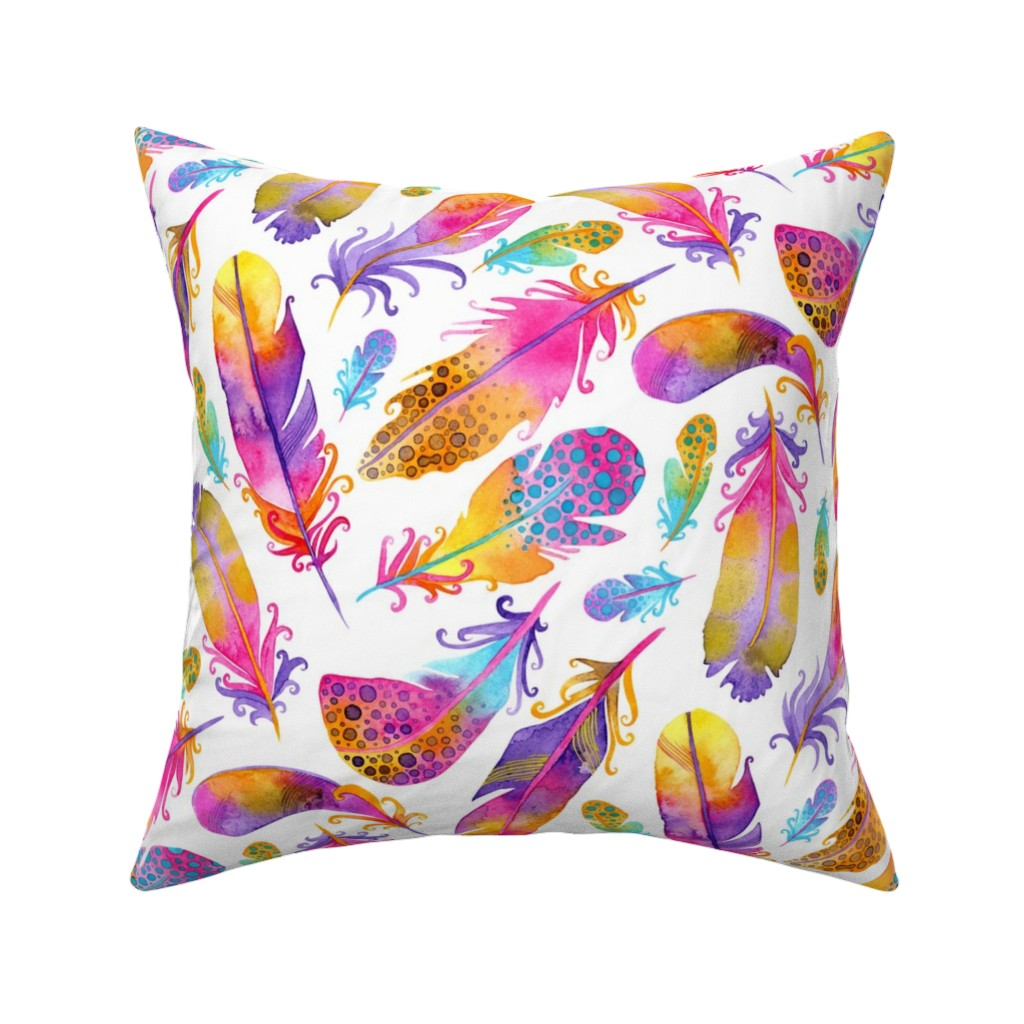 Catalan Throw Pillow featuring Sunset Feathers by katiethomascreative